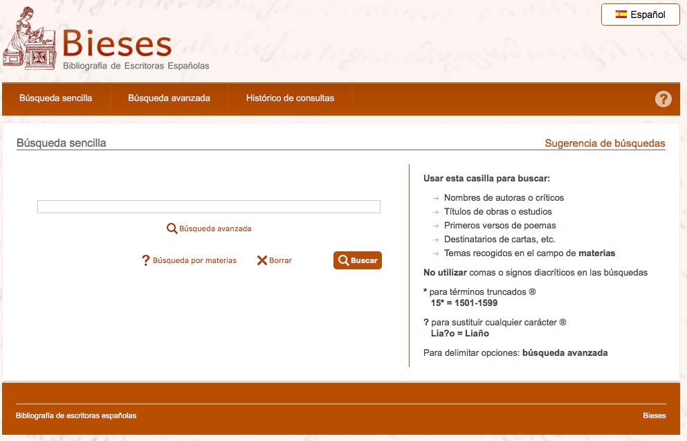 Nueva interfaz de la base de datos BIESES